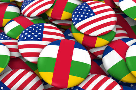 USA and Central African Republic Badges Background - Pile of American and Central African Flag Buttons 3D Illustration Stock Photo