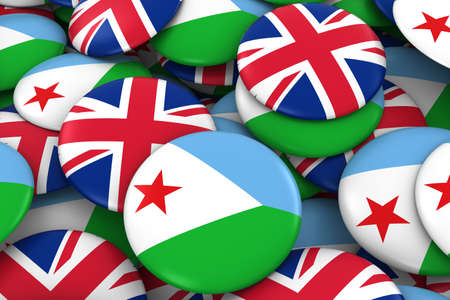 Djibouti and UK Badges Background - Pile of Djiboutian and British Flag Buttons 3D Illustration