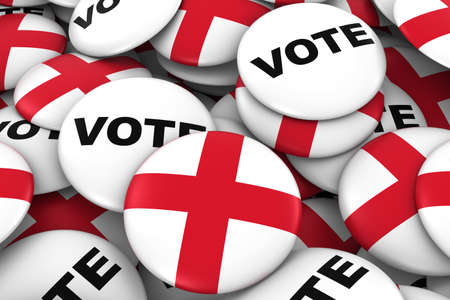 english flag: England Elections Concept - English Flag and Vote Badges 3D Illustration Stock Photo