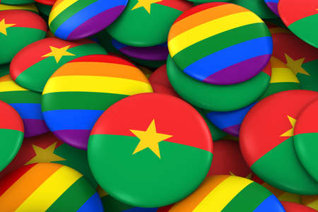 Burkina Faso Gay Rights Concept - Burkinabe Flag and Gay Pride Badges 3D Illustration