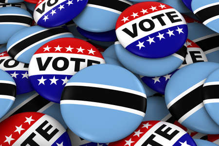 voters: Botswana Elections Concept - Botswanan Flag and Vote Badges 3D Illustration Stock Photo