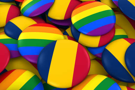 Chad Gay Rights Concept - Chadian Flag and Gay Pride Badges 3D Illustration Stock Photo
