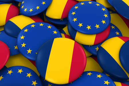 chadian: Chad and Europe Badges Background - Pile of Chadian and European Flag Buttons 3D Illustration Stock Photo