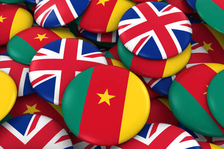 cameroonian: Cameroon and UK Badges Background - Pile of Cameroonian and British Flag Buttons 3D Illustration