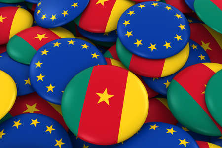 cameroonian: Cameroon and Europe Badges Background - Pile of Cameroonian and European Flag Buttons 3D Illustration Stock Photo