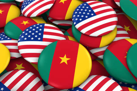cameroonian: USA and Cameroon Badges Background - Pile of American and Cameroonian Flag Buttons 3D Illustration Stock Photo