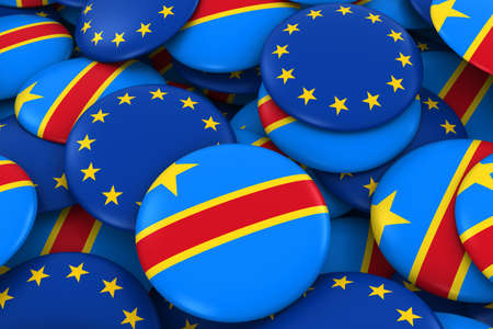 dr: DR Congo and Europe Badges Background - Pile of Congolese and European Flag Buttons 3D Illustration