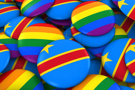 dr: DR Congo Gay Rights Concept - Congolese Flag and Gay Pride Badges 3D Illustration