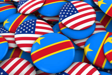 dr: USA and DR Congo Badges Background - Pile of American and Congolese Flag Buttons 3D Illustration Stock Photo