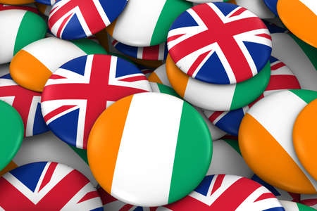 Cote dIvoire and UK Badges Background - Pile of Ivorian and British Flag Buttons 3D Illustration