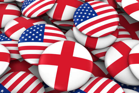 english flag: USA and England Badges Background - Pile of American and English Flag Buttons 3D Illustration Stock Photo