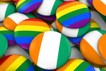 Cote dIvoire Gay Rights Concept - Ivorian Flag and Gay Pride Badges 3D Illustration