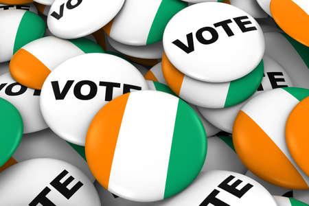 Cote dIvoire Elections Concept - Ivorian Flag and Vote Badges 3D Illustration