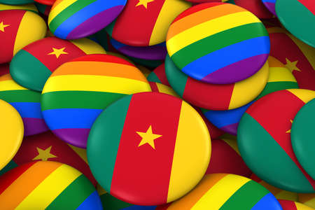 cameroonian: Cameroon Gay Rights Concept - Cameroonian Flag and Gay Pride Badges 3D Illustration