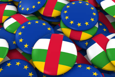 central african republic: Central African Republic and Europe Badges Background - Pile of Central African and European Flag Buttons 3D Illustration