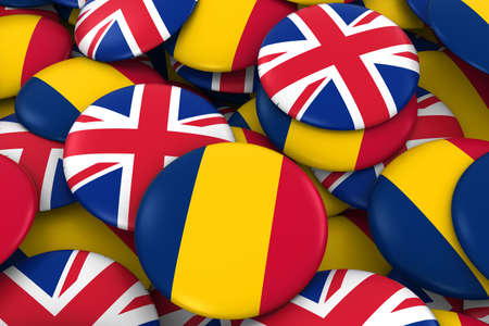 chadian: Chad and UK Badges Background - Pile of Chadian and British Flag Buttons 3D Illustration