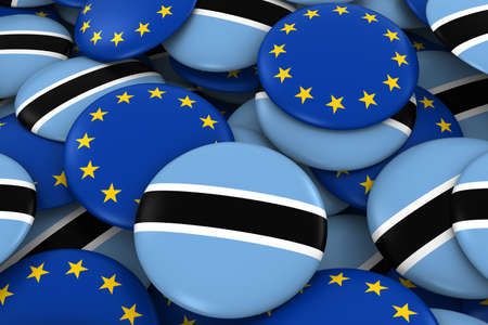 botswanan: Botswana and Europe Badges Background - Pile of Botswanan and European Flag Buttons 3D Illustration
