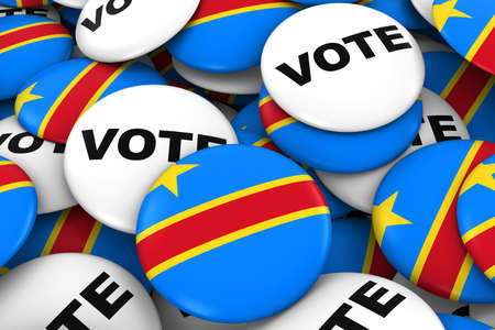 dr: DR Congo Elections Concept - Congolese Flag and Vote Badges 3D Illustration Stock Photo