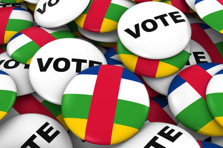 Central African Republic Elections Concept - Central African Flag and Vote Badges 3D Illustration