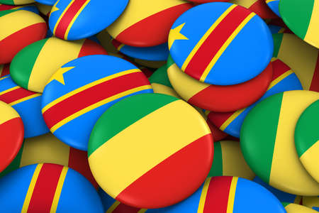 dr: Congo and DR Congo Badges Background - Pile of Congolese Flag Buttons 3D Illustration
