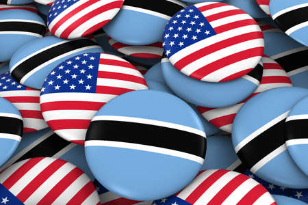 botswanan: USA and Botswana Badges Background - Pile of American and Botswanan Flag Buttons 3D Illustration Stock Photo