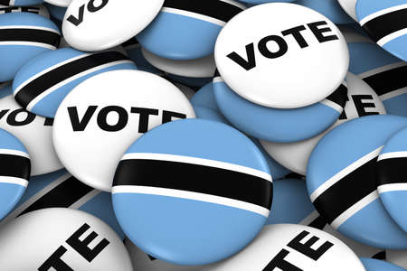 botswanan: Botswana Elections Concept - Botswanan Flag and Vote Badges 3D Illustration Stock Photo
