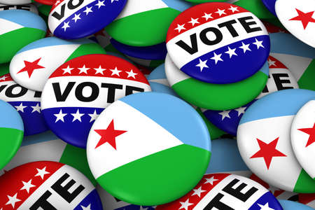 djibouti: Djibouti Elections Concept - Djiboutian Flag and Vote Badges 3D Illustration Stock Photo