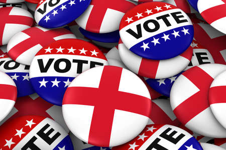 drapeau anglais: Angleterre Élections Concept - Drapeau anglais et Vote Badges Illustration 3D