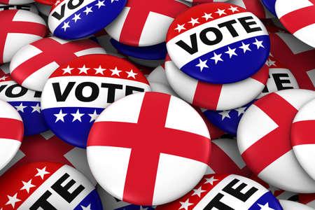 inglese flag: Inghilterra Elezioni Concept - Inglese bandiera e illustrazione voto Badge 3D