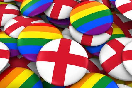 english flag: England Gay Rights Concept - English Flag and Gay Pride Badges 3D Illustration Stock Photo
