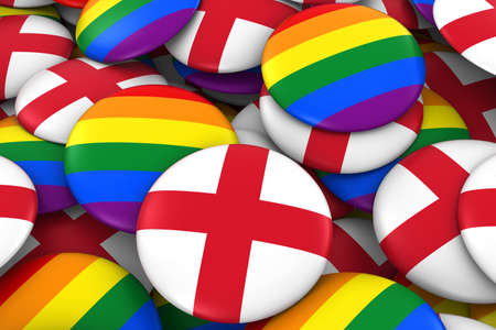 England Gay Rights Concept - English Flag and Gay Pride Badges 3D Illustration Stock Photo