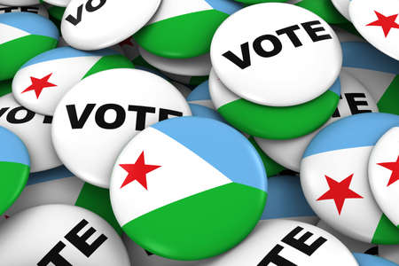 Djibouti Elections Concept - Djiboutian Flag and Vote Badges 3D Illustration Stock Photo