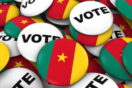 cameroonian: Cameroon Elections Concept - Cameroonian Flag and Vote Badges 3D Illustration Stock Photo