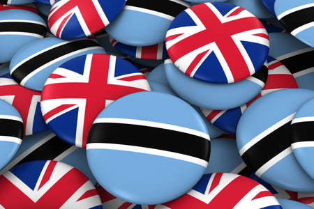 botswanan: Botswana and UK Badges Background - Pile of Botswanan and British Flag Buttons 3D Illustration