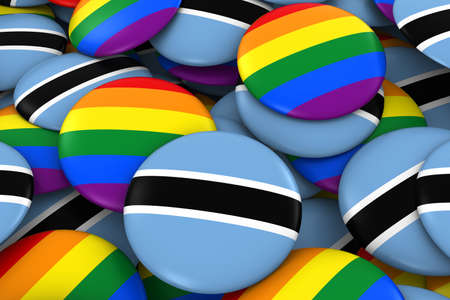 botswanan: Botswana Gay Rights Concept - Botswanan Flag and Gay Pride Badges 3D Illustration