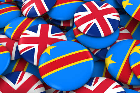 dr: DR Congo and UK Badges Background - Pile of Congolese and British Flag Buttons 3D Illustration Stock Photo