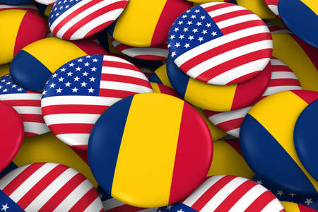 USA and Chad Badges Background - Pile of American and Chadian Flag Buttons 3D Illustration Stock Photo