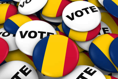 chadian: Chad Elections Concept - Chadian Flag and Vote Badges 3D Illustration Stock Photo