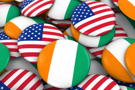 USA and Cote dIvoire Badges Background - Pile of American and Ivorian Flag Buttons 3D Illustration Stock Photo