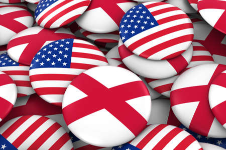 USA and Northern Ireland Badges Background - Pile of American and Northern Irish Flag Buttons 3D Illustration