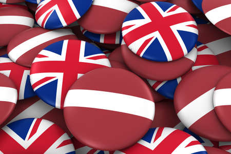 Latvia and UK Badges Background - Pile of Latvian and British Flag Buttons 3D Illustration