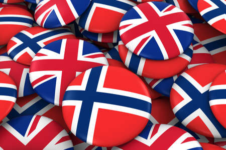 norwegian flag: Norway and UK Badges Background - Pile of Norwegian and British Flag Buttons 3D Illustration Stock Photo