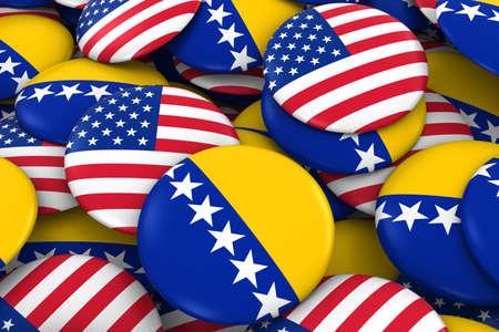 bosnia and herzegovina flag: USA and Bosnia Herzegovina Badges Background - Pile of American and Bosnian Herzegovinan Flag Buttons 3D Illustration