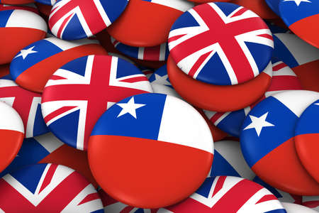 chilean flag: Chile and UK Badges Background - Pile of Chilean and British Flag Buttons 3D Illustration