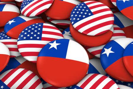 bandera chilena: Estados Unidos y Chile Placas de fondo - Pila de estadounidenses y chilenas bandera, los botones Ilustración 3D Foto de archivo