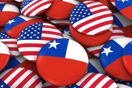 chilean flag: USA and Chile Badges Background - Pile of American and Chilean Flag Buttons 3D Illustration Foto de archivo