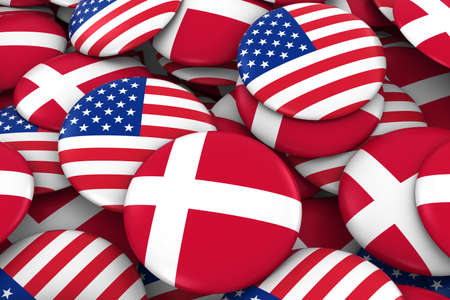 danish flag: USA and Denmark Badges Background - Pile of American and Danish Flag Buttons 3D Illustration Stock Photo