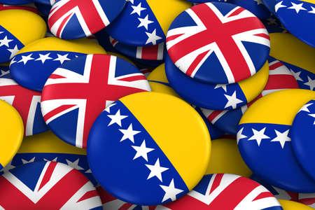 bosnia and herzegovina flag: Bosnia Herzegovina and UK Badges Background - Pile of Bosnian Herzegovinan and British Flag Buttons 3D Illustration