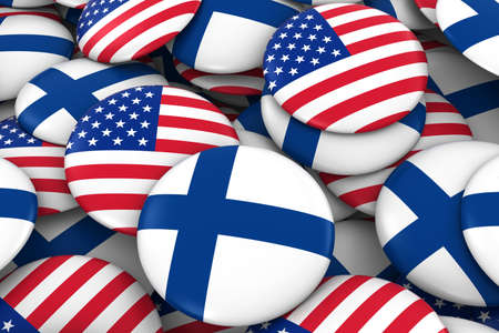 finnish: USA and Finland Badges Background - Pile of American and Finnish Flag Buttons 3D Illustration Stock Photo