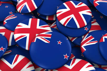 New Zealand and UK Badges Background - Pile of New Zealand and British Flag Buttons 3D Illustration